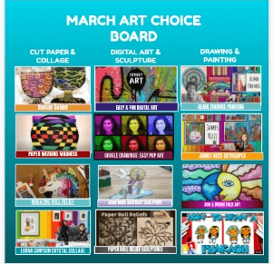 March Art Choice Board